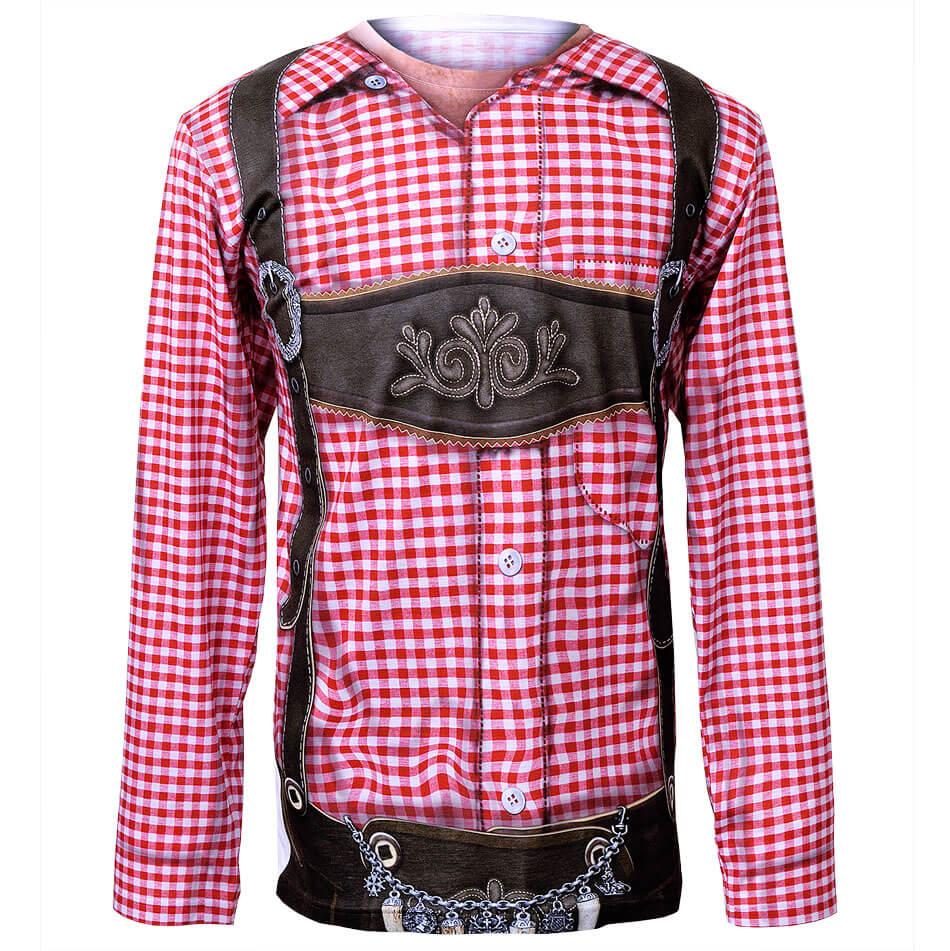 Longsleeve T-Shirt mit Karohemd und Lederhose