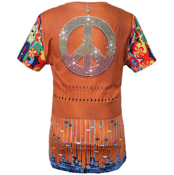 """Kostüm-Shirt, T-Shirt mit detailreichem Druck als Motiv """"Hippie"""" Damenshirt"""