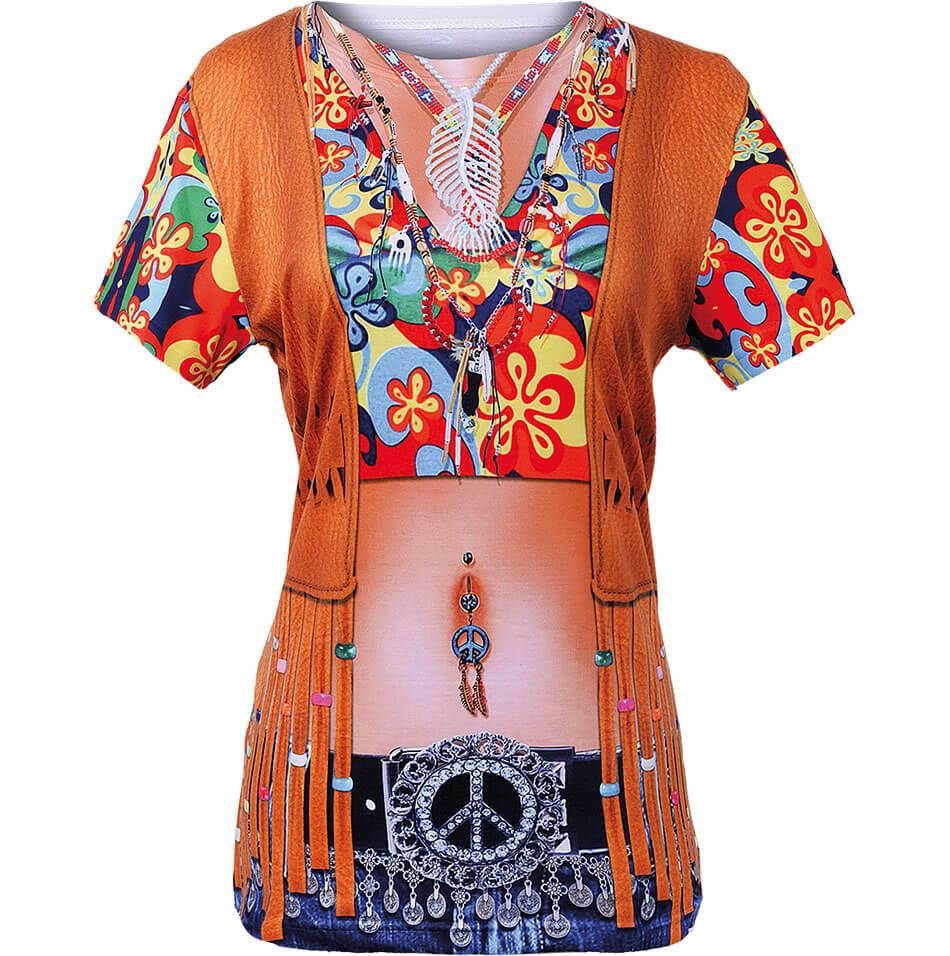 Das Hippie-Motiv als Funshirt für Damen von Luna Tex