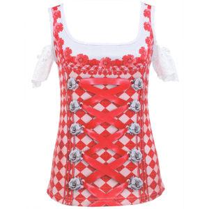 Schönes Dirndl Shirt mit fotorealistischem Druck im Rot-weiss-Design