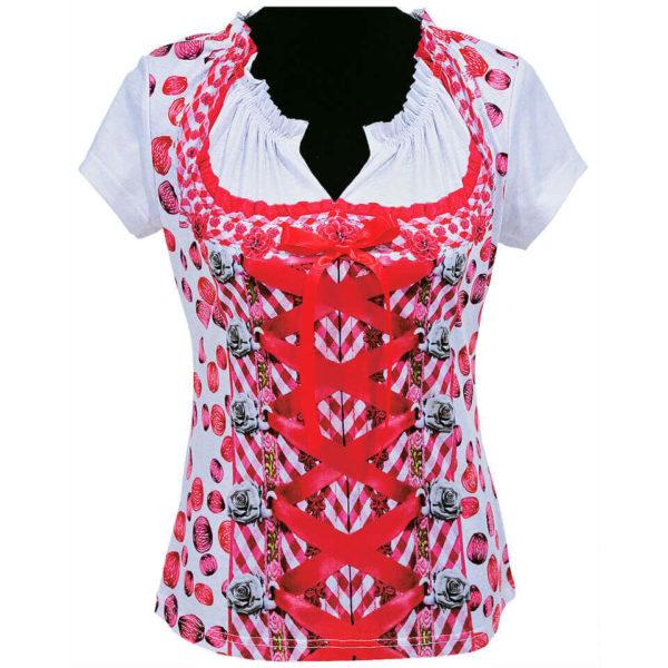 Dirndl-Shirt mit schönen Details in rot und Weiss