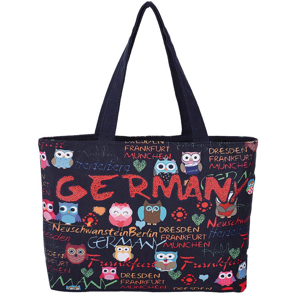 Schwarze Einkaufstasche Germany mit Eulen als Motiv