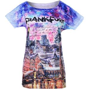 Themen T-Shirt mit dem Motiv Frankfurt, bunt und hochwertig bedruckt
