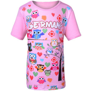 Kinder T-Shirt mit Eulenmotiven, illustriert, viele Farben, Grundfarbe Pink