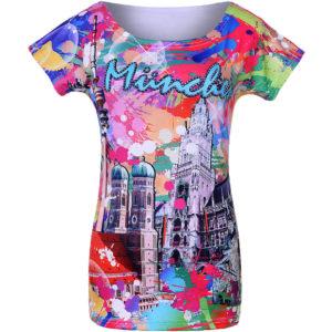 kurzarm T-Shirt Motiv München, bunt und poppig