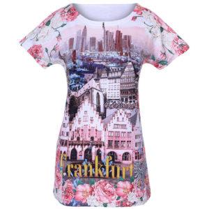 T-Shirt mit Städtemotiv Frankfurt, Erdfarben, blumen und Skyline Illustration