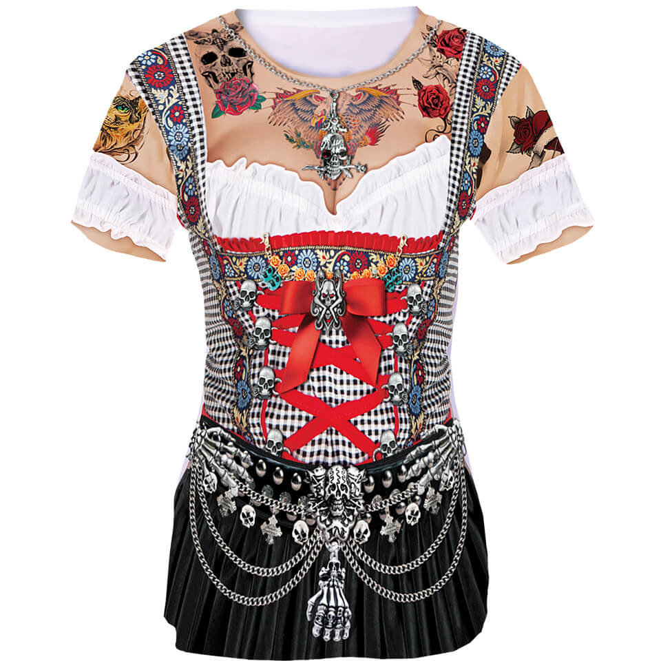 Zombie Tattoo Shirt im Dirndl Look als Fun Shirt