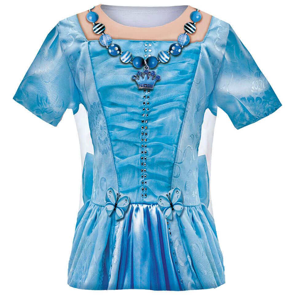 Kostüm Shirt für Kinder mit dem Motiv Prinzessin in blau