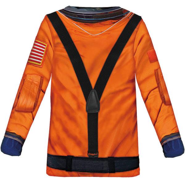 Kinder Shirt Astronaut in Orange mit vielen Details, Fun Shirt und Kostüm