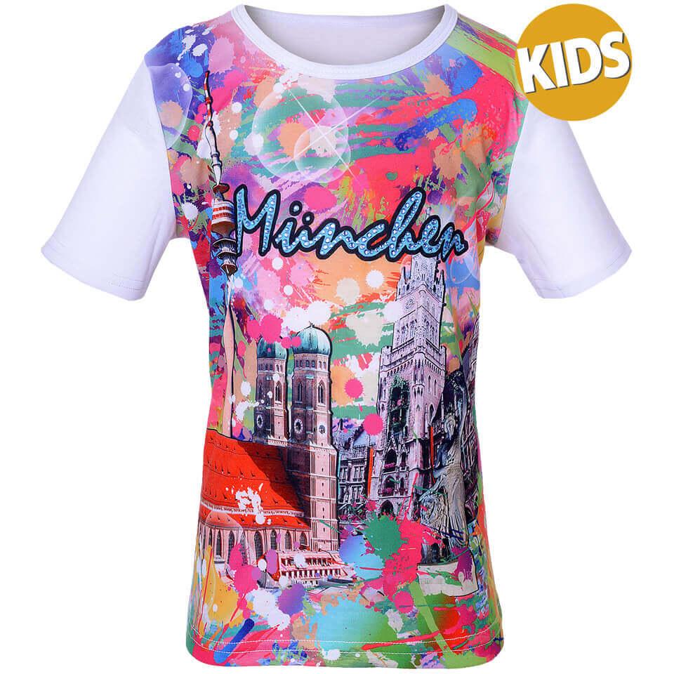 """Stadtmotiv T-Shirt für Kinder """"München crazy"""" buntes Shirt"""