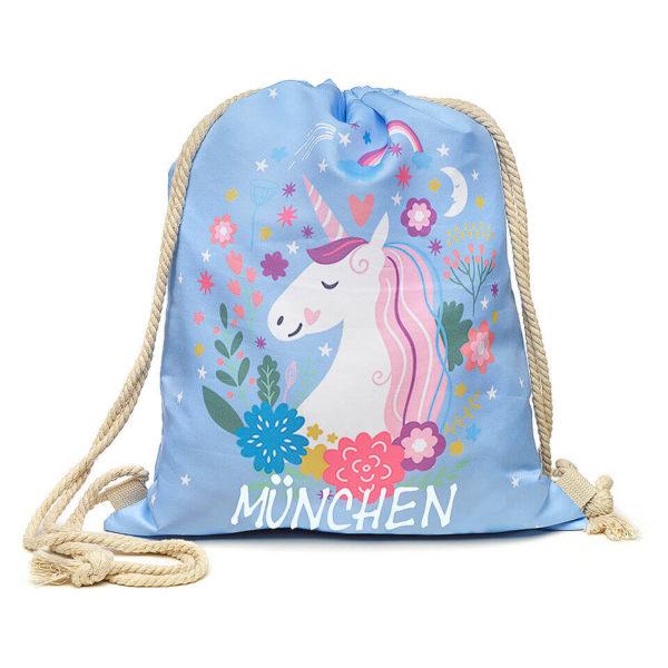 Beutel, Turnbeutel mit Kordelzug, hellblau, Motiv Einhorn, Aufdruck München