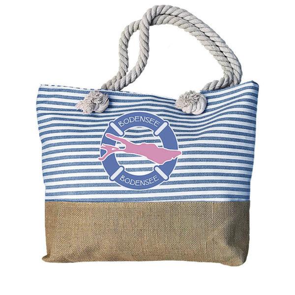 Sommertasche, Strandtasche Motiv Bodensee in Blau / Weiss, Stoff und Sackleinen, Innen Polyester; Reißverschlüsse und kleine Innentasche