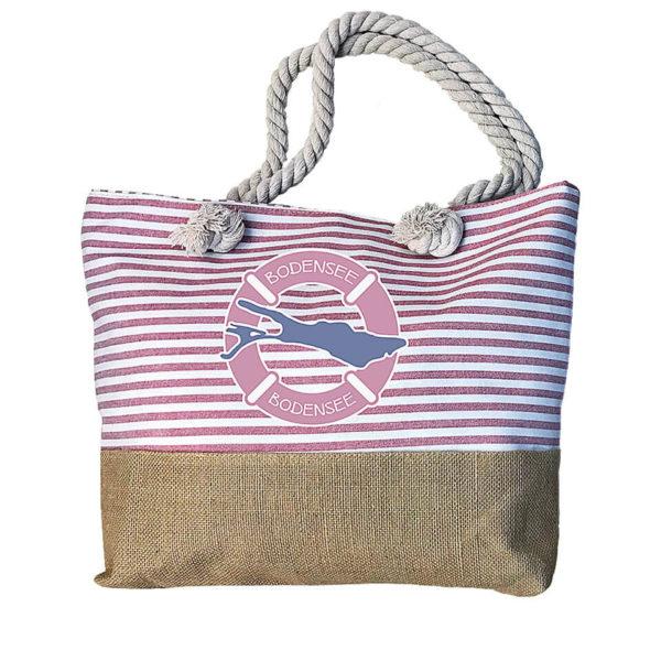Sommertasche pink-weiss gestreift aus Stoff und Sackleinen mit Motiv Bodensee. Tragehenkel aus Kordel; praktisch mit Reißverschluss