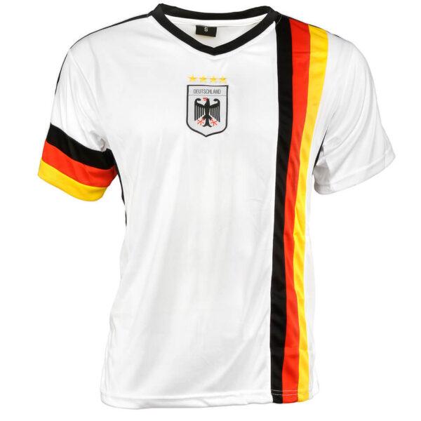 Trikot Fußball im Look der Nationalmannschft, Weiß mit Farben der Deutschlandflagge und Adler auf der Brust