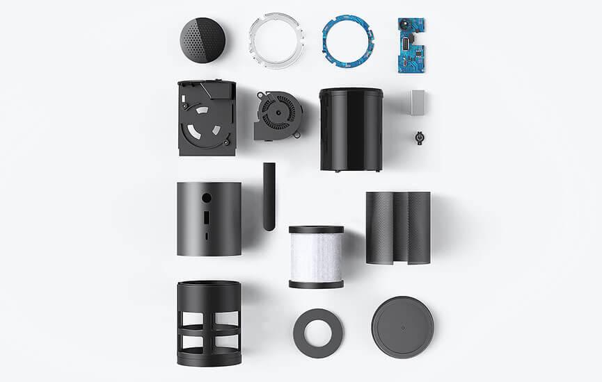 Bestandteile des smart + care Luftreinigers