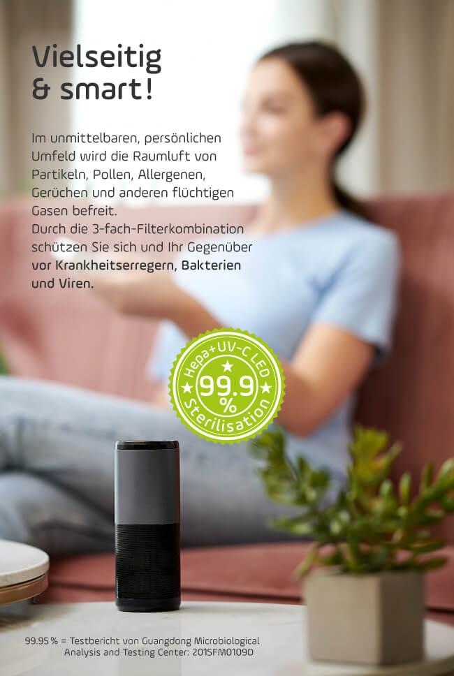 smart + care Luftreiniger ist vielseitig