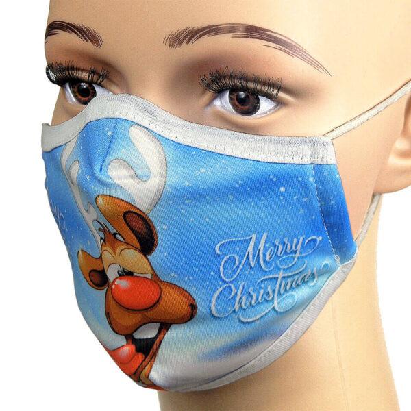 Kindermaske gegen Infektionen Corona. Motiv: Weihnachten, Rentier