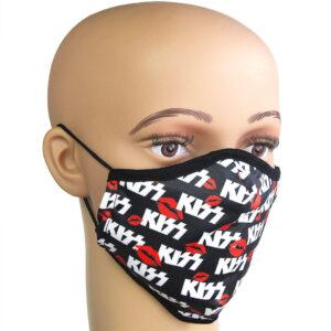 Auffälliger Mundschutz, Corona-Maske mit Motiv «KISS»