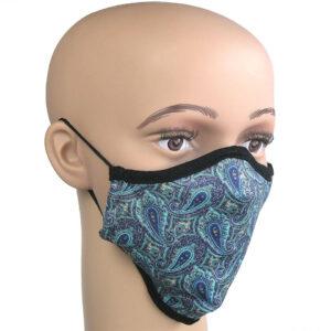 Paisleymuster türkis auf Mundschutz, Infektionsschutz-Maske gegen Corona