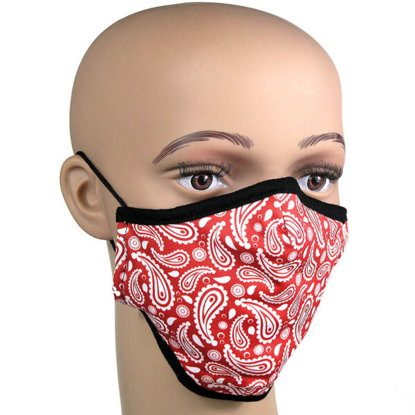 roter Paisleymuster auf Corona-Schutzmaske