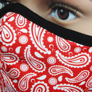 Detail Maske Paisley rot