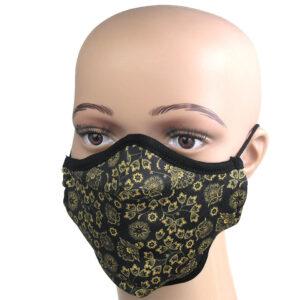 Mund-Nasenschutz mit goldenem Blumenmuster