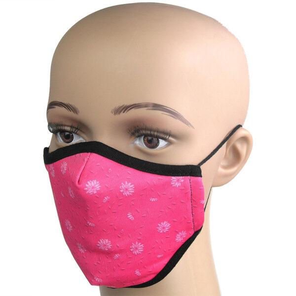 Corona Maske in Pink mit Blumen